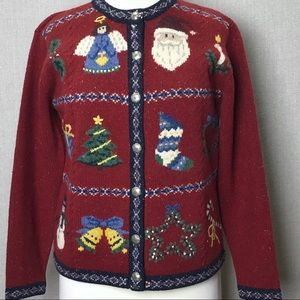 TALBOTS Red Wool Holiday Christmas Cardigan Sz S